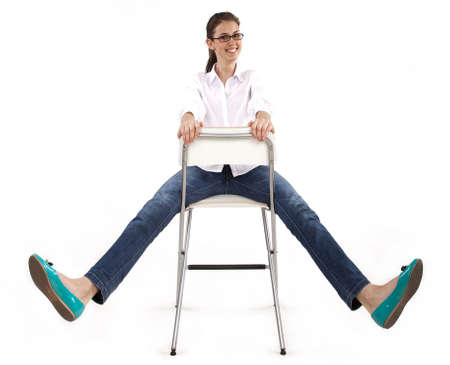happy woman on chair Stock Photo