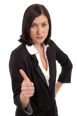 Portrait of attractive young businesswoman showing a thumbs up