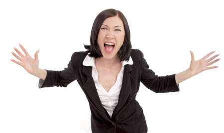 Businesswoman screaming in delirium