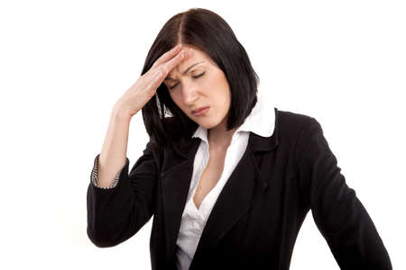 Businesswoman has problem and headache Stock Photo