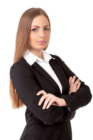 pretty business woman confidently on white