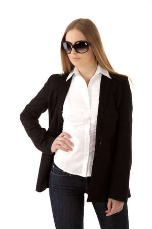 modern business woman with sun glasses Stock Photo