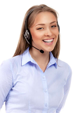 Support phone operator in headset isolated Stock Photo - 20898070