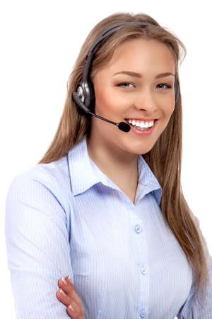 Support phone operator in headset isolated