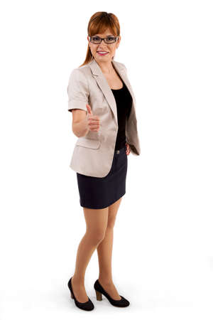 Pretty business woman standing confidently on white photo