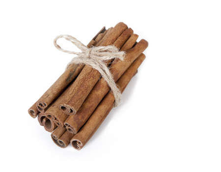 fresh cinnamon on white background  Stock Photo