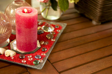 Romantic Table with Red Candle