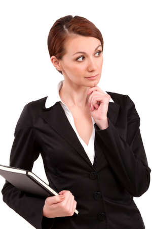 business skeptical: Businesswoman thinking hand on chin