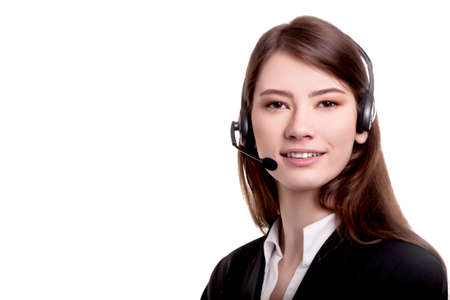 Young Beautiful Call Center Support Agent Woman Smiling