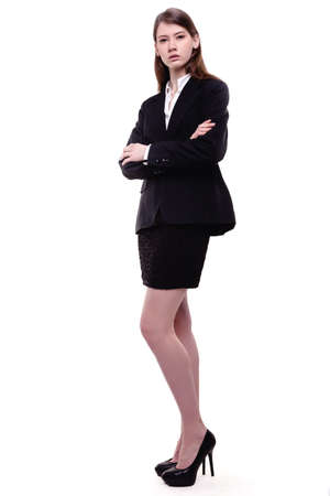Confident young businesswoman  student standing arms crossed Stock Photo