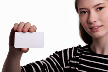 Cute Beautiful Woman Showing Blank Business Card Stock Image photo