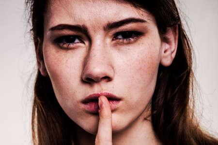 Shhhhh Woman! Finger On Lips. Silent - Silence Stock Image Stock Photo