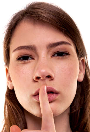 Shhhhh Woman! Finger On Lips. Silent - Silence Stock Image photo