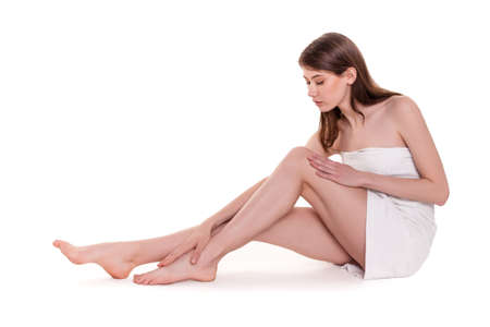 naked woman  white background: Young Beautiful Woman With Nice Legs in Spa Stock Image Stock Photo