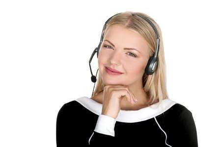 call center representative: support phone operator in headset isolated call center representative