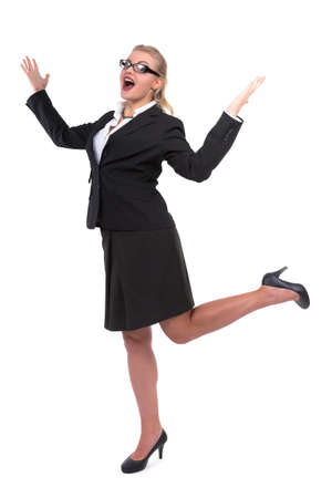 office space: Happy businesswoman singing, shouting, screaming at office - Stock Image