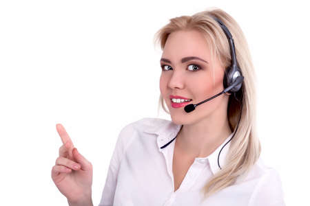 20 29 years: Call Center Support phone operator in headset, isolated - Stock Image
