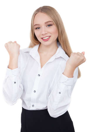 winning stock: Young businesswoman winning emotions hands up winner success - Stock Image Stock Photo