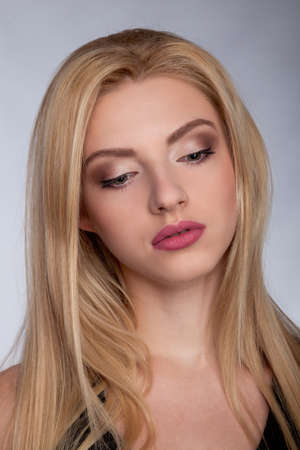 sexy female: Portrait of a Beautiful Blonde Woman Model black background studio - Stock Image