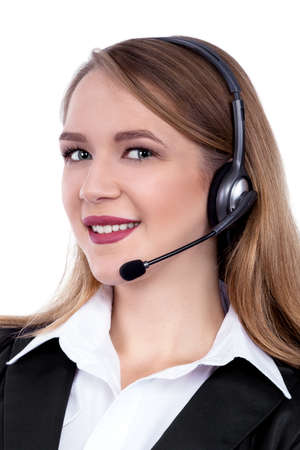 Call Center Support phone operator in headset, isolated - Stock Image