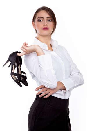 chaussures à talon large au bureau - Succès jeune femme d'affaires - Image Banque d'images