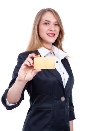 Young Woman Holding Blank business card in a hand - Stock Image