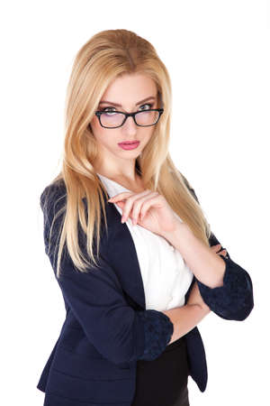 Attractive Confident businesswoman with her arms crossed - Stock Image