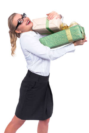 Excited Shopping Woman with gift boxes - businesswoman - Stock Image
