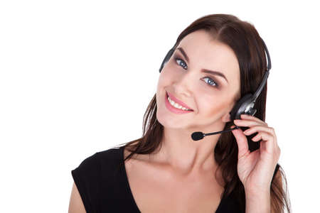 25 29: Call Center Support phone operator in headset, isolated - Stock Image
