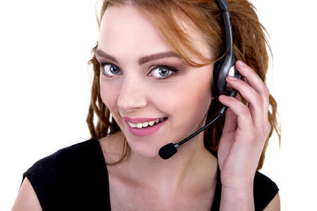20 24 years: Call Center Support phone operator in headset, isolated - Stock Image