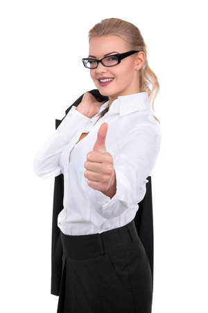 Confident Businesswoman thumb up On A White Background - Stock Image