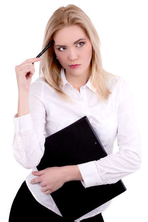 Businesswoman thinking with file and pen on brow - Stock Image