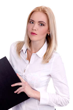 Modern professional businesswoman holding folder and pen - Stock Image