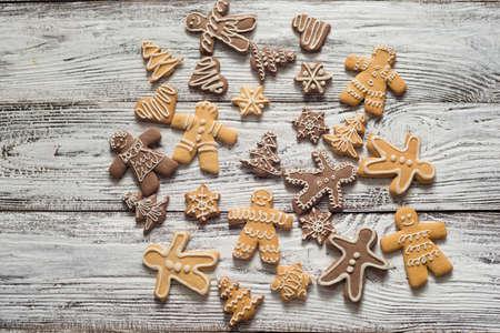 christmas cookie and candy on wood, food top view Zdjęcie Seryjne - 89724537
