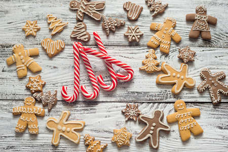Christmas cookie and candy on wood food top view gifts with