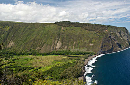Waipio Valley on the Big Island of Hawaii - thought to be the location where the first Hawaiians landed in the islands Archivio Fotografico