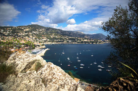 the harbor of Villefranche-sur-mer taken from the ridge between the city and Nice on the cote dAzur