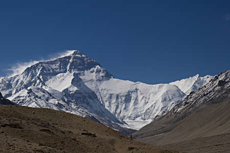 Mount Everest from the base camp in Tibet