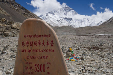 Mount Everest base camp marker in 3 languages