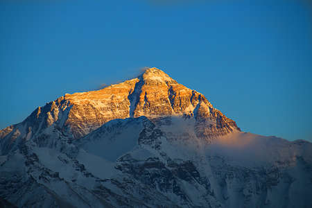 Mt. Everest at sunset from the Tibetan Base Camp Stock Photo