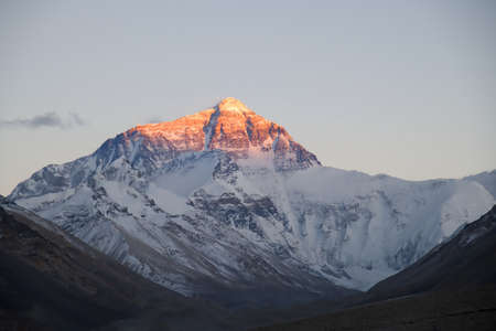 Mt. Everest at sunset from the Tibetan Base Camp Banco de Imagens