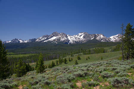 View of the Sawtooth Mountains from Nip and Tuck Road, near Stanley, Idaho