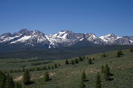 View of the Sawtooth Mountains from Nip and Tuck Road, near Stanley, Idaho Stock Photo - 116503717