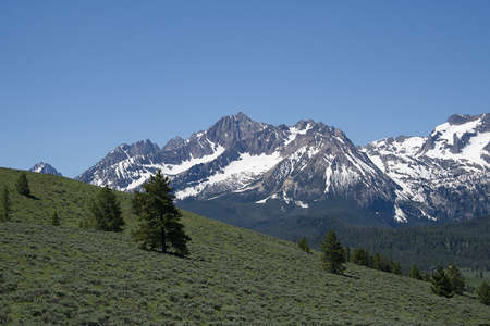 View of the Sawtooth Mountains from Nip and Tuck Road, near Stanley, Idaho Stock Photo - 116503718