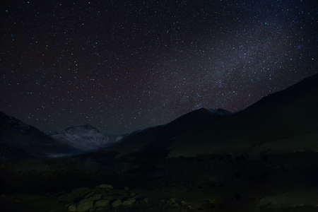 Mt. Everest with the Milky Way from the Tibetan Base Camp Imagens