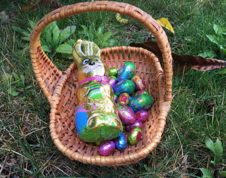 Close up of chocolate Easter eggs and chocolate bunny in a basket on grass background. Easter tradition. Egg hunt