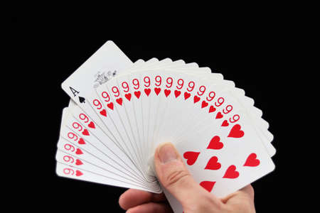 An incredible hand of cards with an ace of spades