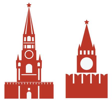 道のりで植生タワーと req 広場の 2 つのバリエーションのベクトル イラスト