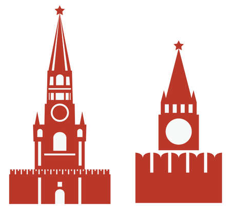 red square moscow: vector illustration of two variations of spasskaya tower and req square