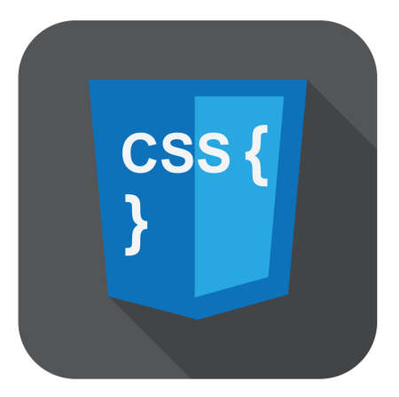 css3: vector illustration of blue shield with css style and curves on the screen, isolated web site development icon on white background